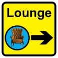 Lounge sign with right arrow - 300mm x 300mm