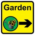 Garden sign with right arrow - 300mm x 300mm