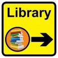 Library sign with right arrow - 300mm x 300mm