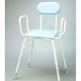 Polyurethane Moulded Shower Stools - Adjustable Height with Armrests and Padded Backrest