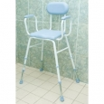 Polyurethane Moulded Shower Stools - Adjustable Height with Padded Armrests and Backrest