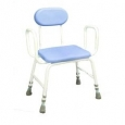 Polyurethane Moulded Shower Stools - Extra Low - Adjustable Height with Armrests and Padded Backrest