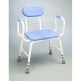 Polyurethane Moulded Shower Stools - Extra Low - Adjustable Height with Padded Armrests and Padded Backrest