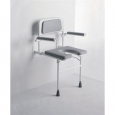 Padded Wall Mounted Shower Seat With Arms - Horseshoe Seat