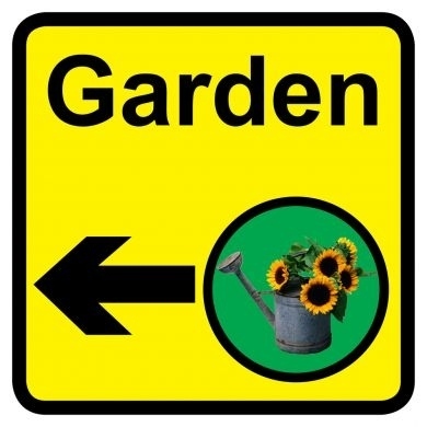 Garden sign with left arrow - 300mm x 300mm