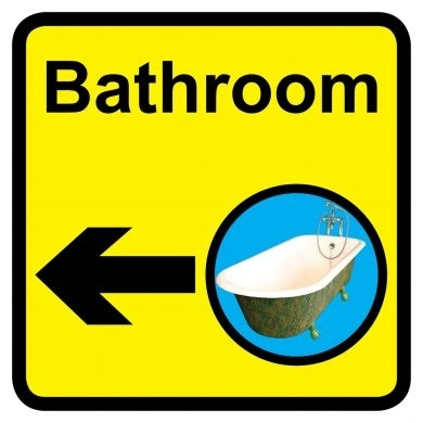 Bathroom sign with left arrow - 300mm x 300mm