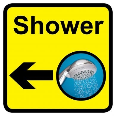 Shower sign with left arrow - 300mm x 300mm