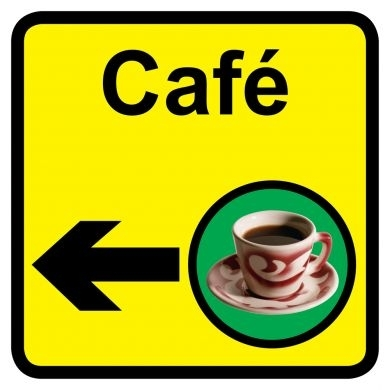 Cafe sign with left arrow 300mm x 300mm