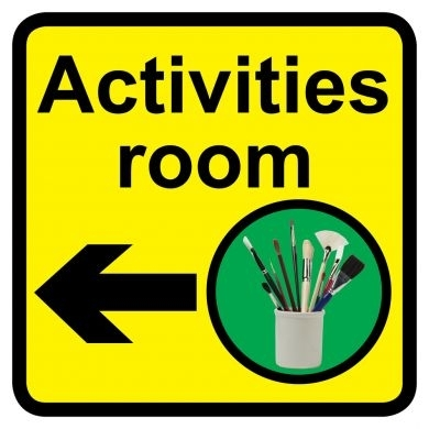 Activities Room sign with left arrow - 300mm x 300mm