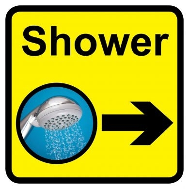 Shower sign with right arrow - 300mm x 300mm