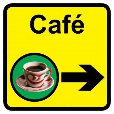 Cafe sign with right arrow - 300mm x 300mm
