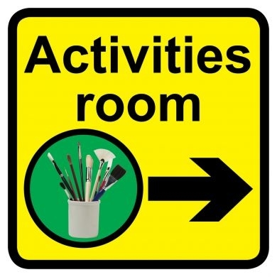 Activities Room sign with right arrow - 300mm x 300mm
