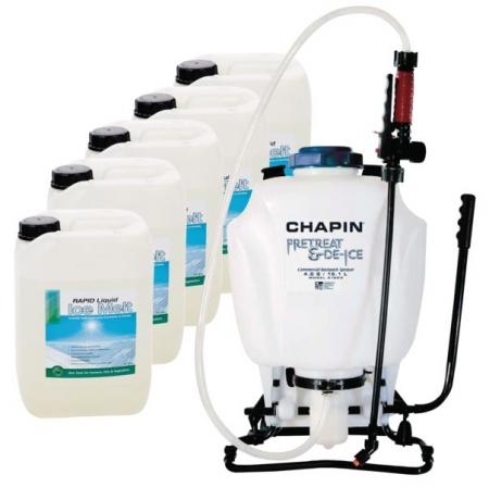 Liquid Ice Melt (5 x 10 litre) & Knapsack Sprayer Kit