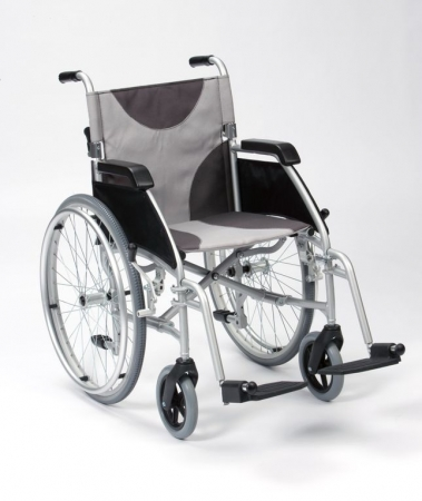 Lightweight Aluminium Self Propel Wheelchair: Grey/Black Canvas