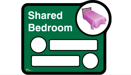 Bedroom sign (interchangeable) – 2 beds sharing - Different colours available