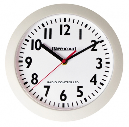 Radio Controlled Wall Clock 25cm - White