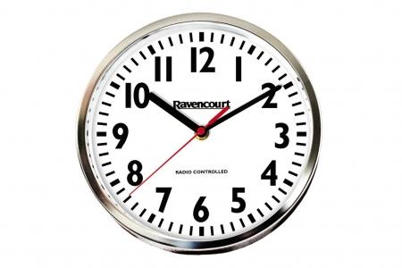 Radio Controlled Wall Clock 25cm - Chrome