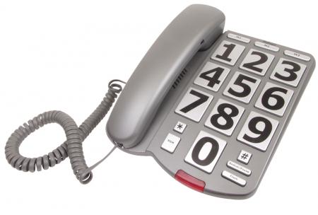 Big Button Desk Phone - Grey / Silver