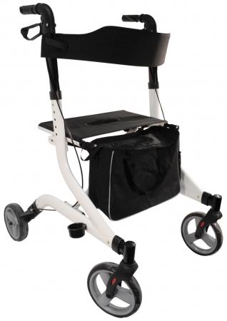 Deluxe Ultra Lightweight Folding 4 Wheeled Rollator - White
