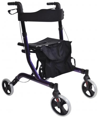 Deluxe Ultra Lightweight Folding 4 Wheeled Rollator - Purple