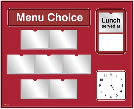 Picture Menu Board with Analogue Clock and Free Picture Library - Different Colours