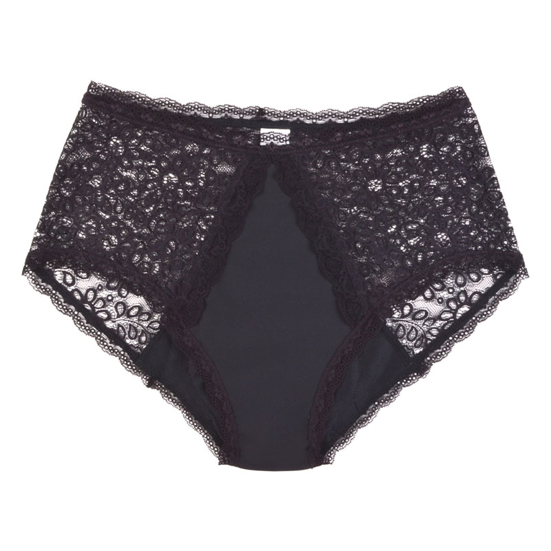 Eco friendly, washable, light absorbency, lace underwear. Full brief style in black.