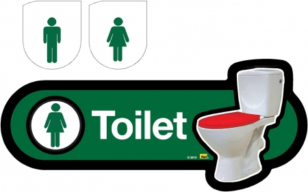 Interchangeable Toilet Sign - 300mm. Different colours available.