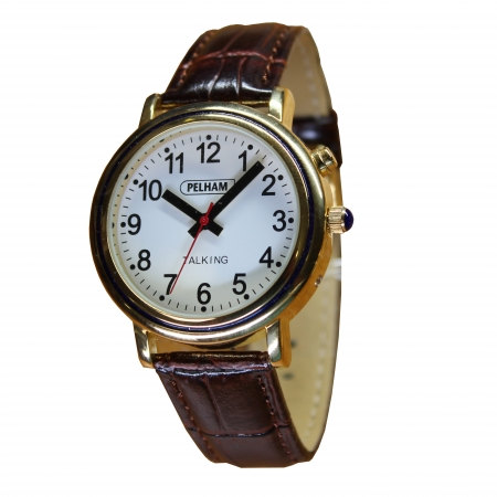 Talking Gold Watch with brown strap - Large