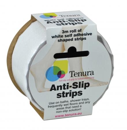 Non Slip Tenura Aqua Safe Strips - White