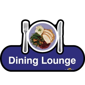 Dining Lounge sign - 300mm - Blue