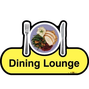 Dining Lounge sign - 480mm - Yellow