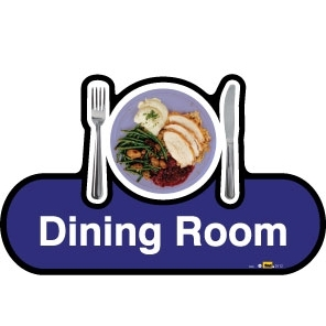 Dining Room sign - 480mm - Blue