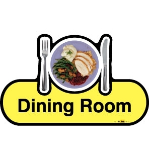 Dining Room sign - 480mm - Yellow