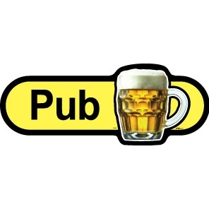 Pub - 300mm sign - Yellow