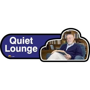 Quiet Lounge sign - 300mm - Blue
