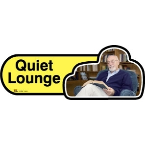 Quiet Lounge sign - 480mm - Yellow