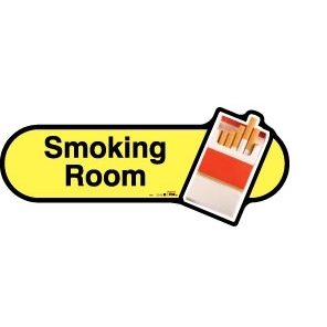 Smoking Room sign - 300mm - Yellow