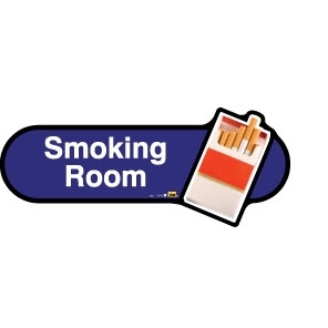 Smoking Room sign - 480mm - Blue