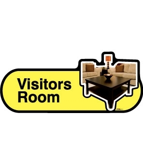 Visitors Lounge sign - 300mm - Yellow