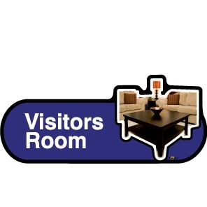Visitors Lounge sign - 480mm - Blue