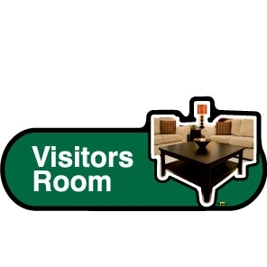 Visitors Lounge sign - 480mm - Green