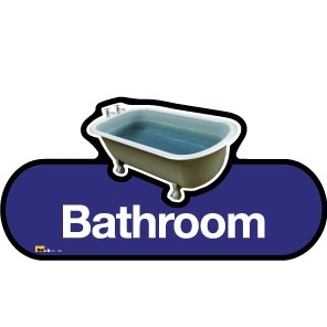 Bathroom sign - 480mm - Blue