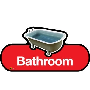 Bathroom sign - 480mm - Red