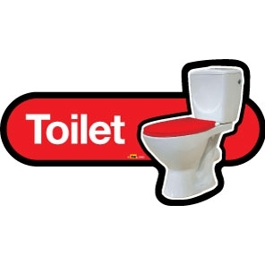 Toilet Sign - Large/480mm - Red