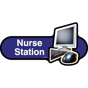 Nurse Station sign - 480mm - Blue
