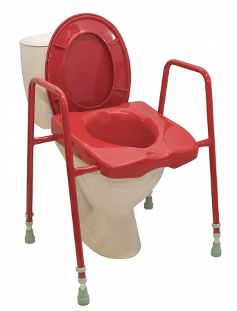 Height adjustable Toilet Frame with Seat: Red or Blue