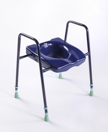 Height adjustable Toilet Frame with Seat - Blue