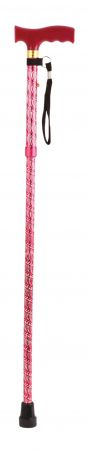 Extendable Plastic Handled Walking Stick With Engraved Pattern In Red