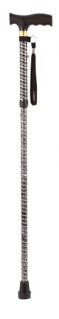 Extendable Plastic Handled Walking Stick With Engraved Pattern In Black
