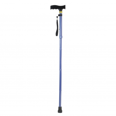 Folding Walking Stick Blue Chequered Print